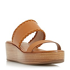 Dune - Tan 'Kryptic' whipstitch flatform sandal