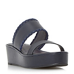 Dune - Navy 'Kryptic' whipstitch flatform sandal