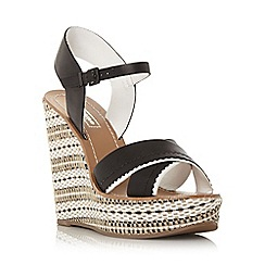 Dune - Black 'Khalo' aztec monochrome wedge sandal
