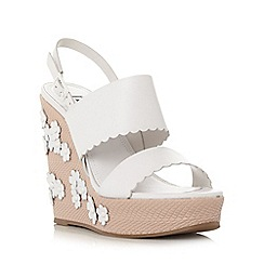 Dune - White 'Kensington' applique flower wedge sandal