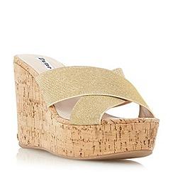 Dune - Gold 'Karmen' cross strap mule wedge sandal