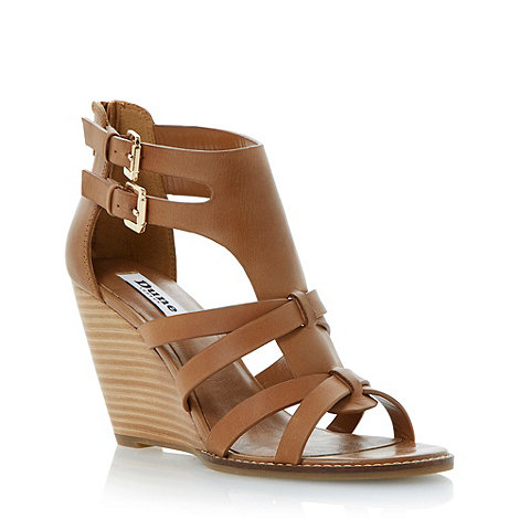 Dune - Brown double buckle leather wedge sandal