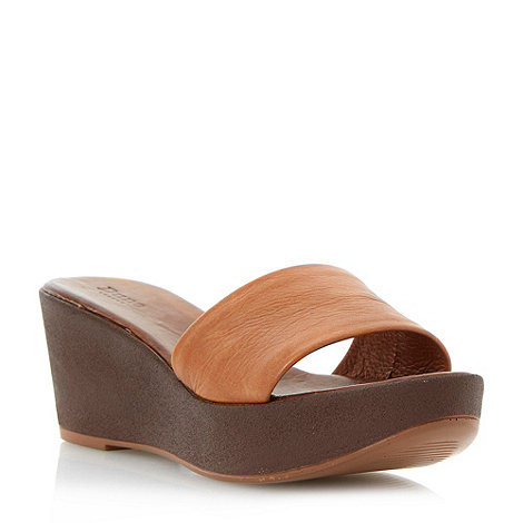 Dune - Tan leather wide vamp mule wedge sandal