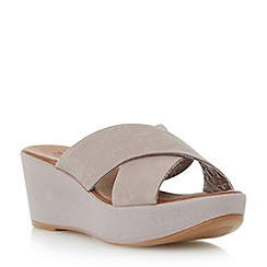 Dune - Grey leather cross strap mule wedge sandal