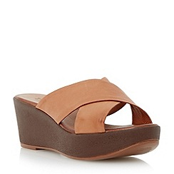 Dune - Brown leather cross strap mule wedge sandal