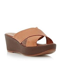Dune - Brown leather cross strap mule wedge sandal