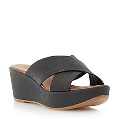 Dune - Black leather cross strap mule wedge sandal