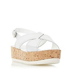 Dune - Silver 'Kraft' crossover strap flatform sandal