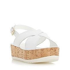 Dune - White 'Kraft' crossover strap flatform sandal