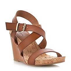 Dune - Brown cork detail wedge sandal