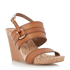 Dune - Brown cork wedge sandal