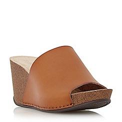Dune - Brown mule wedge sandal