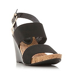 Dune - Black 'Kailee' elasticated strap wedge sandal