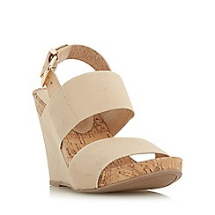 Dune - Natural 'Kailee' elasticated strap wedge sandal