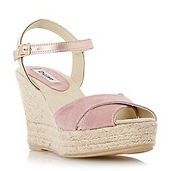 Dune - Neutral suede cross strap espadrille wedge sandal