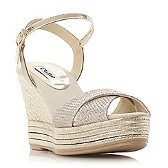 Dune - Gold 'Kitty' luxe espadrille wedge sandal