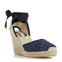 Dune - Navy 'Kloss' crochet lace up espadrille wedge sandal