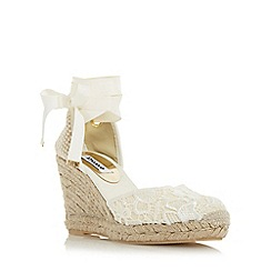 Dune - White 'Kloss' crochet lace up espadrille wedge sandal