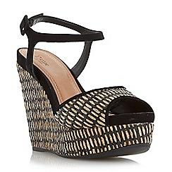 Dune - Black 'Kanga' raffia wedge sandal