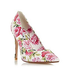 Dune - White 'Bloom' peony print pointed toe court shoe