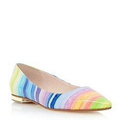 Dune - Multi candy striped pointed toe flat shoe