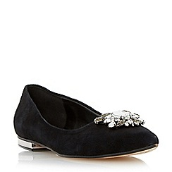 Dune - Black jewel trim pointed toe flat shoe