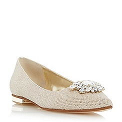 Dune - Metallic jewel trim pointed toe flat shoe