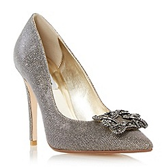 Dune - Gold 'Breanna' jewelled square brooch pointed toe court shoe