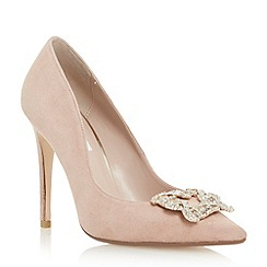 Dune - Neutral jewelled square brooch pointed toe court shoe