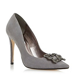 Dune - Grey jewelled square brooch pointed toe court shoe