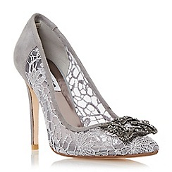 Dune - Grey 'Breanna' jewelled square brooch pointed toe court shoe
