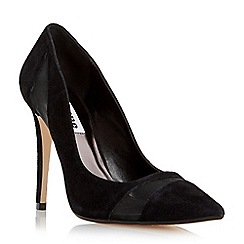 Dune - Black 'Bardot' mesh detail high heel court shoe