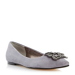 Dune - Grey jewelled square brooch pointed toe flat shoe