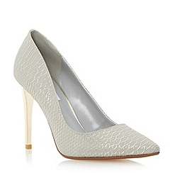Dune - Grey reptile pointed toe court Shoe
