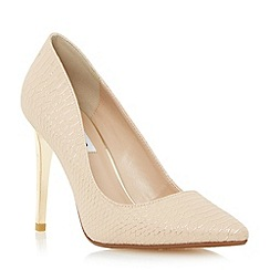Dune - Neutral reptile pointed toe court shoe