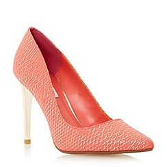 Dune - Pink reptile pointed toe court shoe
