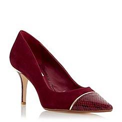 Dune - Maroon 'Bellina' contrast toecap detail court shoe