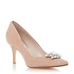 Dune - Neutral jewel trim mid heel pointed toe court shoe