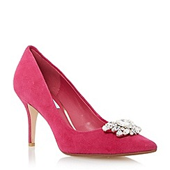 Dune - Pink jewel trim mid heel pointed toe court shoe
