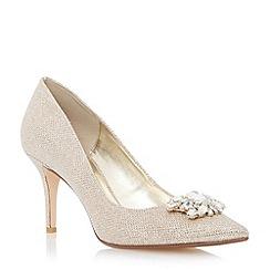 Dune - Metallic jewel trim mid heel pointed toe court shoe
