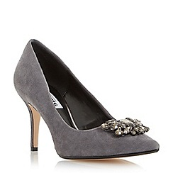 Dune - Dark grey 'Belles' jewel trim mid heel pointed toe court shoe