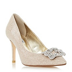 Dune - Gold 'Betti' jewelled brooch detail mid heel court shoe