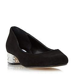Dune - Black 'Bijoux' jewelled block heel court shoe