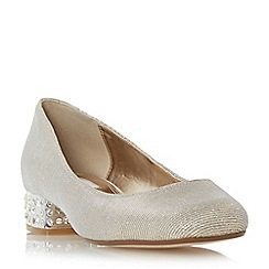 Dune - Gold 'Bijoux' jewelled block heel court shoe