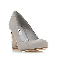 Dune - Grey 'Bindy' jewel block heel court shoe