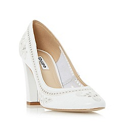 Dune - White 'Bethanee' embroidered court shoe