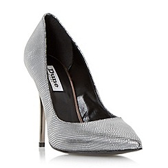 Dune - Silver 'Aimey' pointed toe high heel court shoe