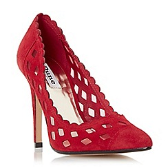 Dune - Red 'Bessie' mesh detail scallop trim court shoe