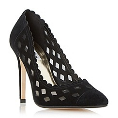 Dune - Black 'Bessie' mesh detail scallop trim court shoe
