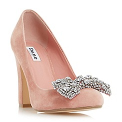 Dune - Pink 'Bambi' bejewelled bow detail court shoe